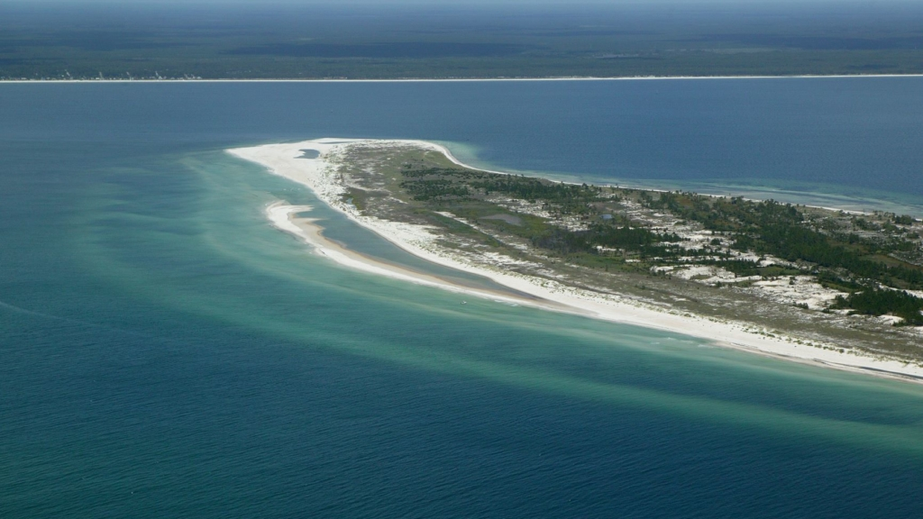 image from a drone of Cape San Blas